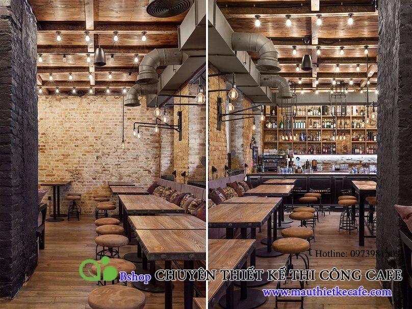 Phối cảnh tổng thể được trang trí tinh tế từ trần, tường, sàn đến cách bố trí quầy bar.
