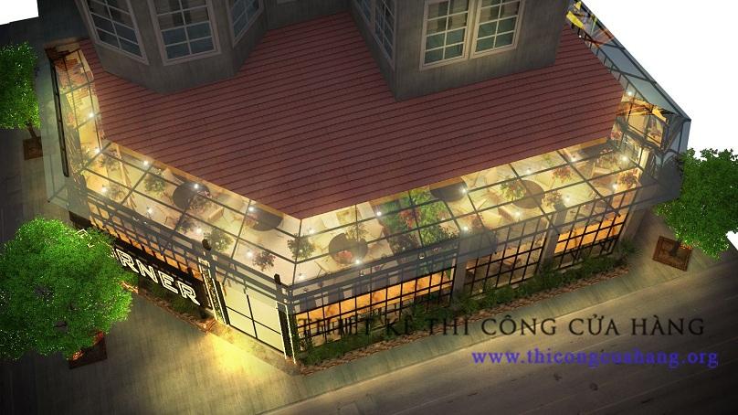 Kiến trúc sư của chúng tôi đã tận dụng tối đa mặt tiền của quán.