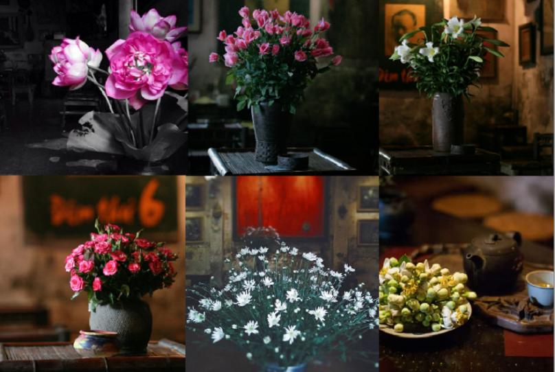 Đến quán để nghe nhạc, uống cafe là chuyện thường, nhưng không ít khách đến quán là để ngắm những bình hoa cũ kĩ có chút loang màu nhưng lại khiến nhiều người mê mẩn