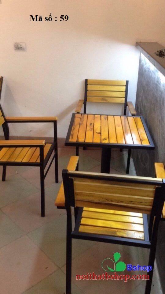 Bàn ghế cafe ghép miếng gỗ