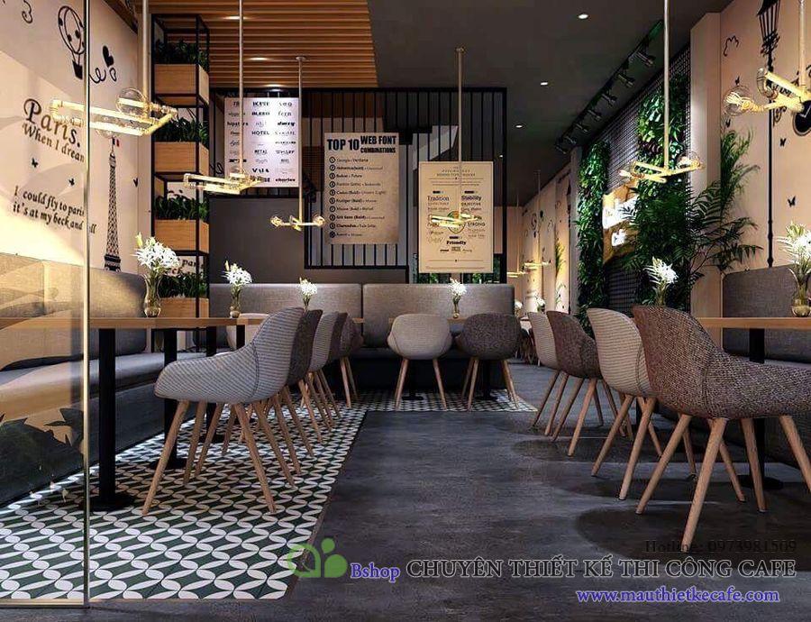 thiết kế quán cafe nhỏ đẹp nhà lô phố