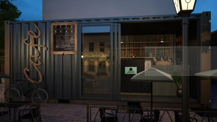 trang trí quán cafe container